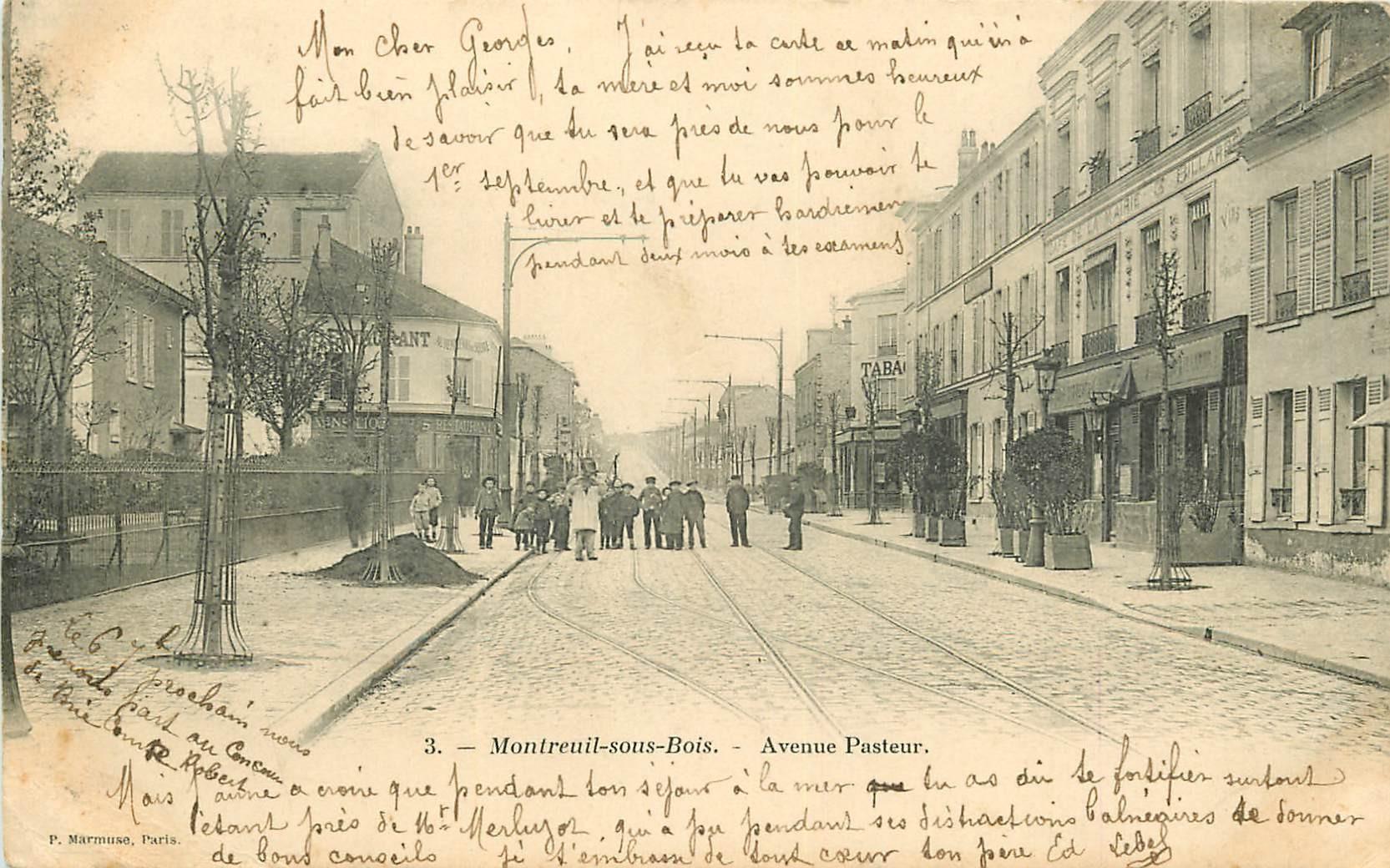 WW 93 MONTREUIL-SOUS-BOIS. Café de la Mairie Avenue Pasteur 1903