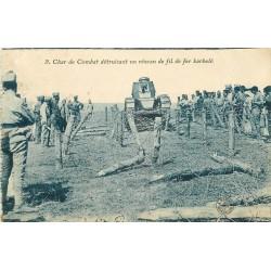 WW MILITAIRES. Char de Combat détruisant des barbelés 1925