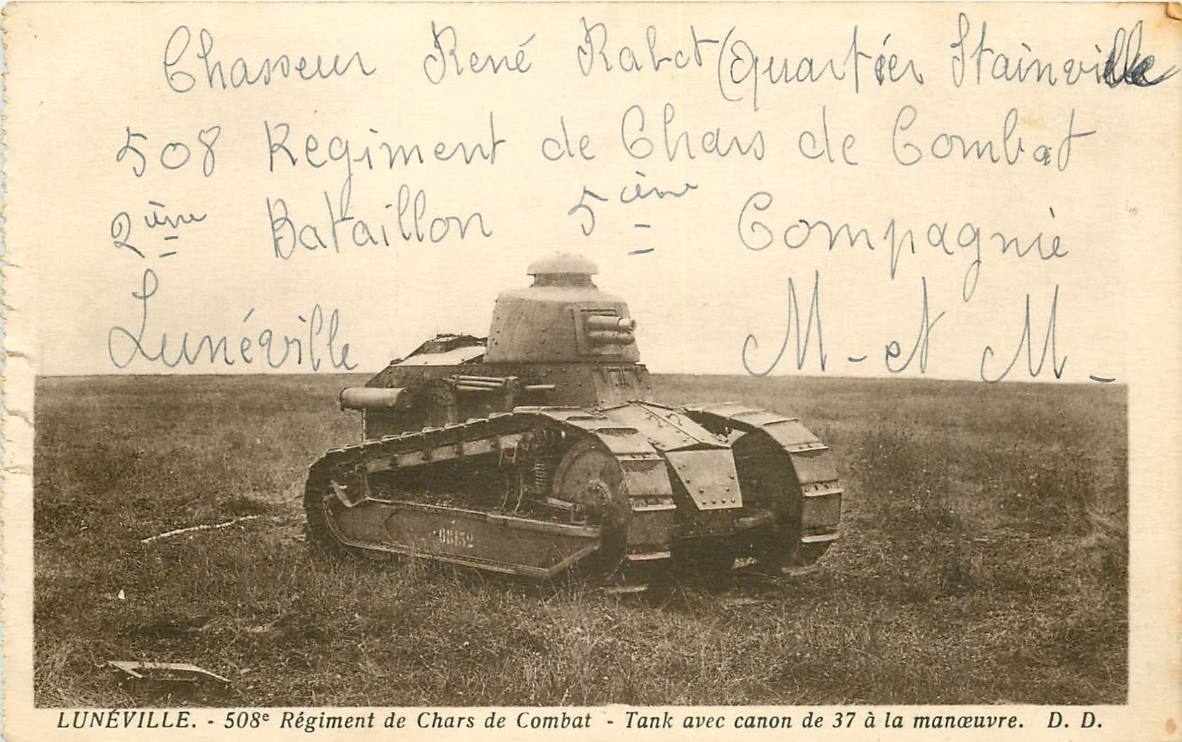 WW 54 LUNEVILLE. 508° Régiment de Chars de Combat. Tank avec canon