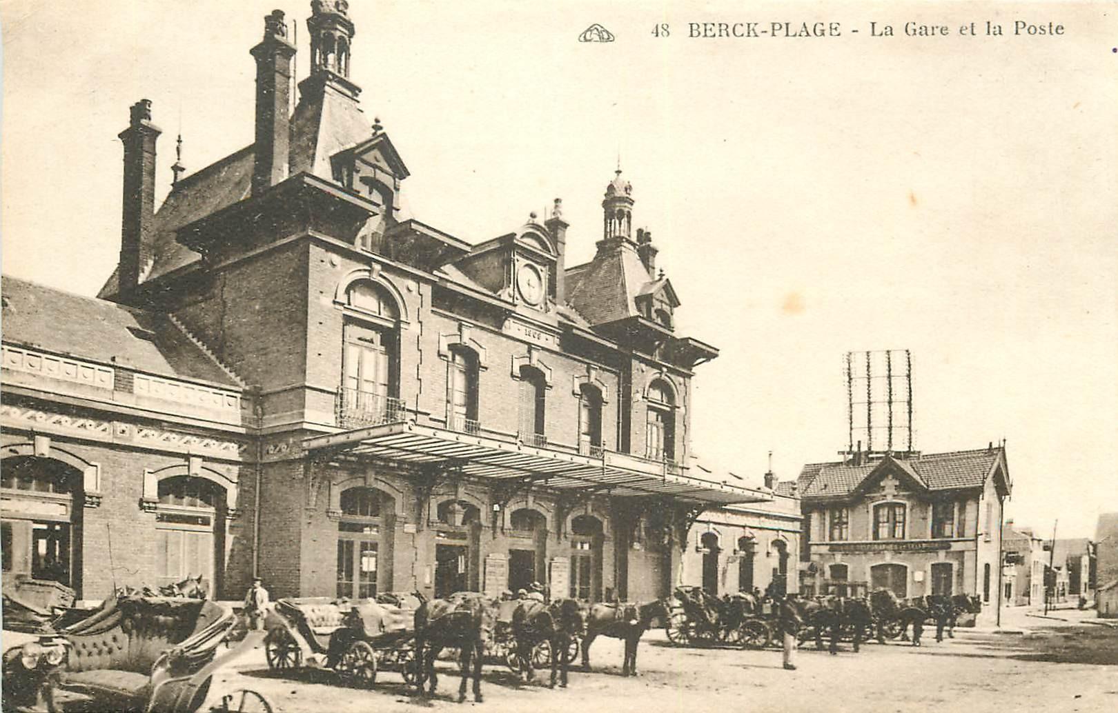 WW 62 BERCK-PLAGE. Attelages devant la Gare et la Poste