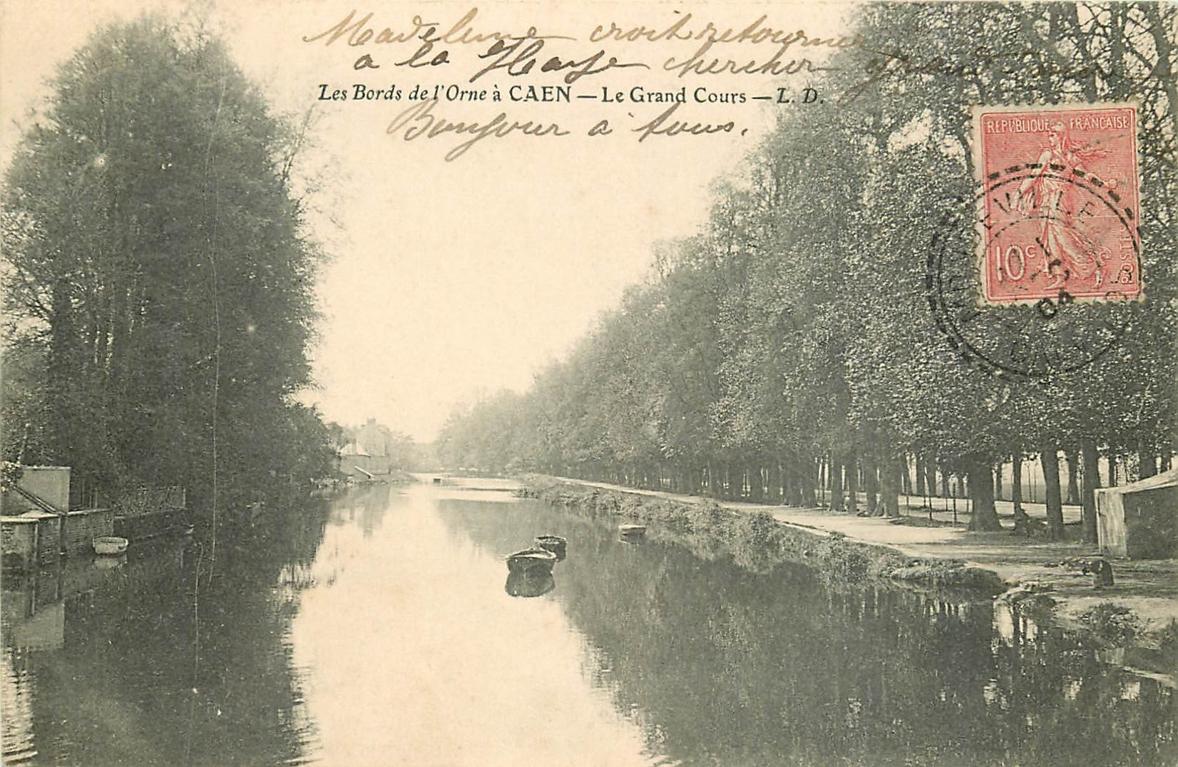 carte postale ancienne 14 CAEN. Top Promotion le Grand Cours 1904