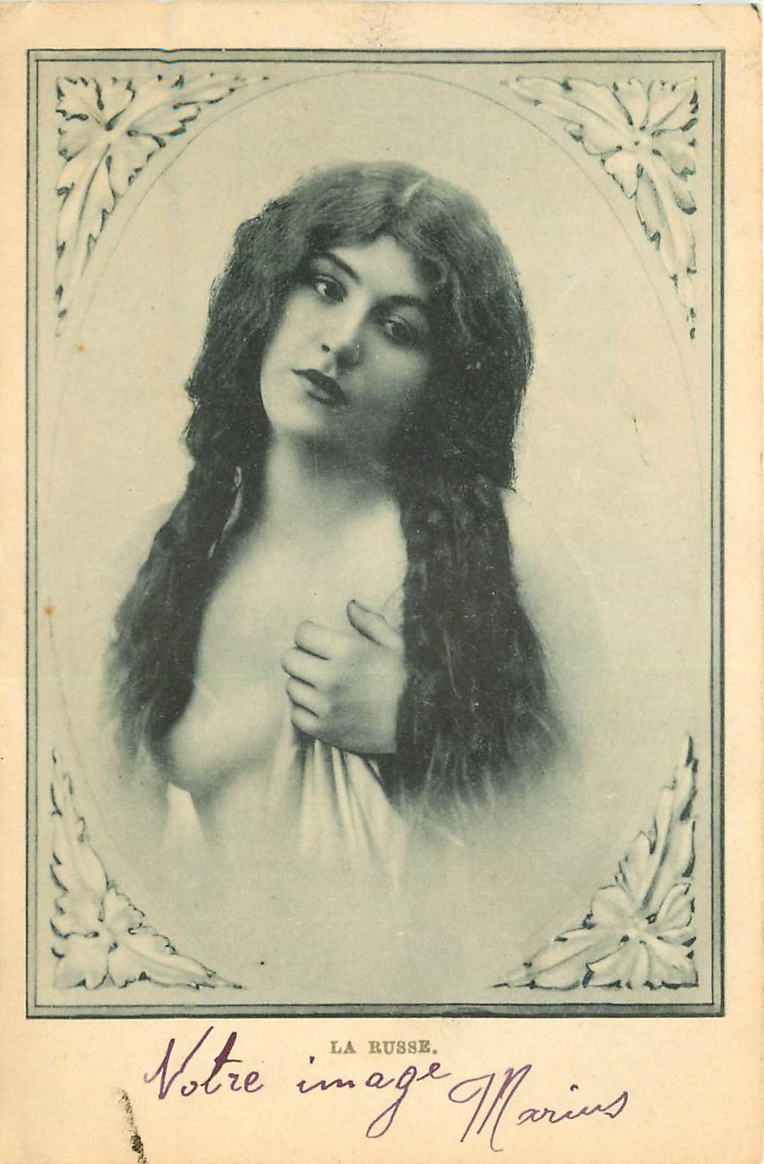 WW LA RUSSE. Femme superbe chevelure au sein nu dévoilé vers 1900