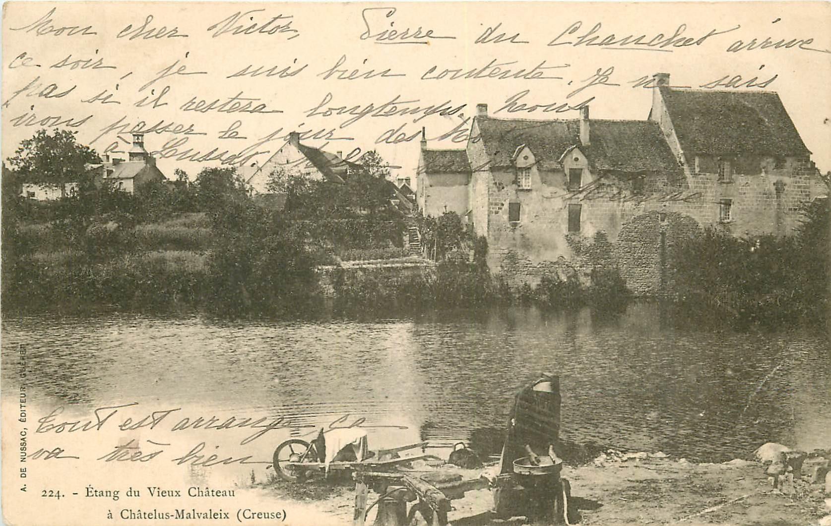 WW 23 CHATELUS-MALVALEIX. Lavandière à l'Etang du Vieux Château 1903