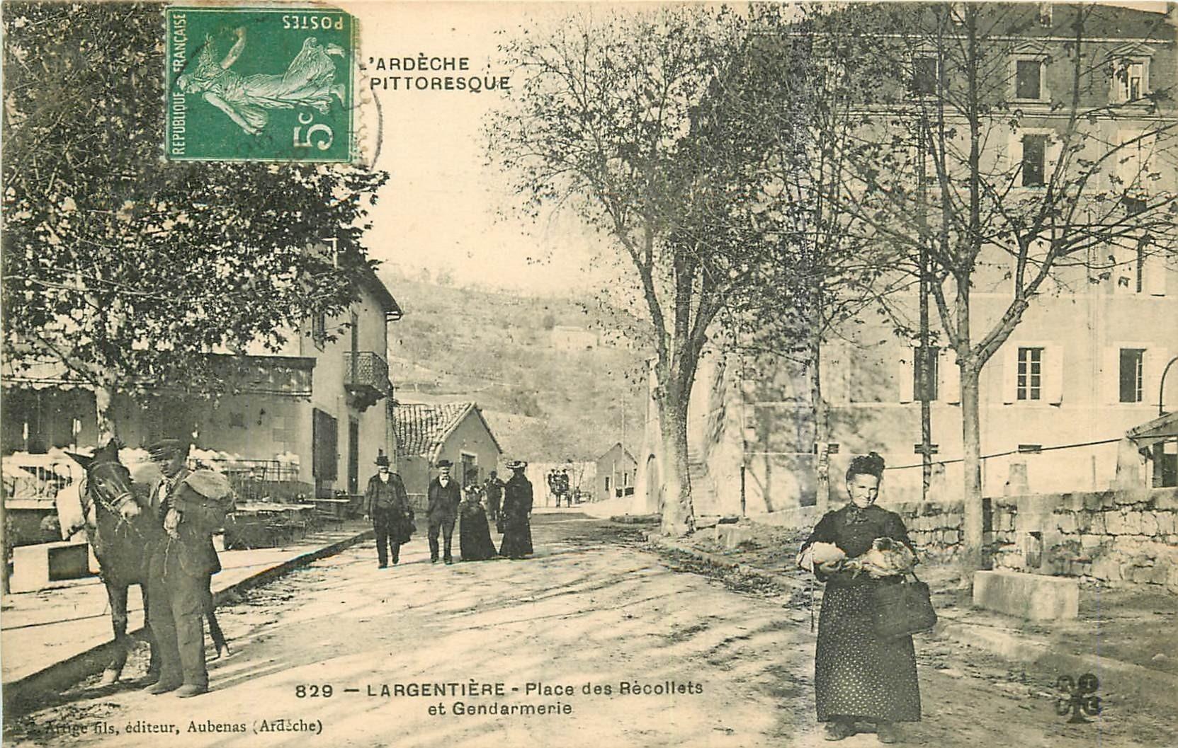 WW 07 LARGENTIERE. Gendarmerie Place des Récollets 1908
