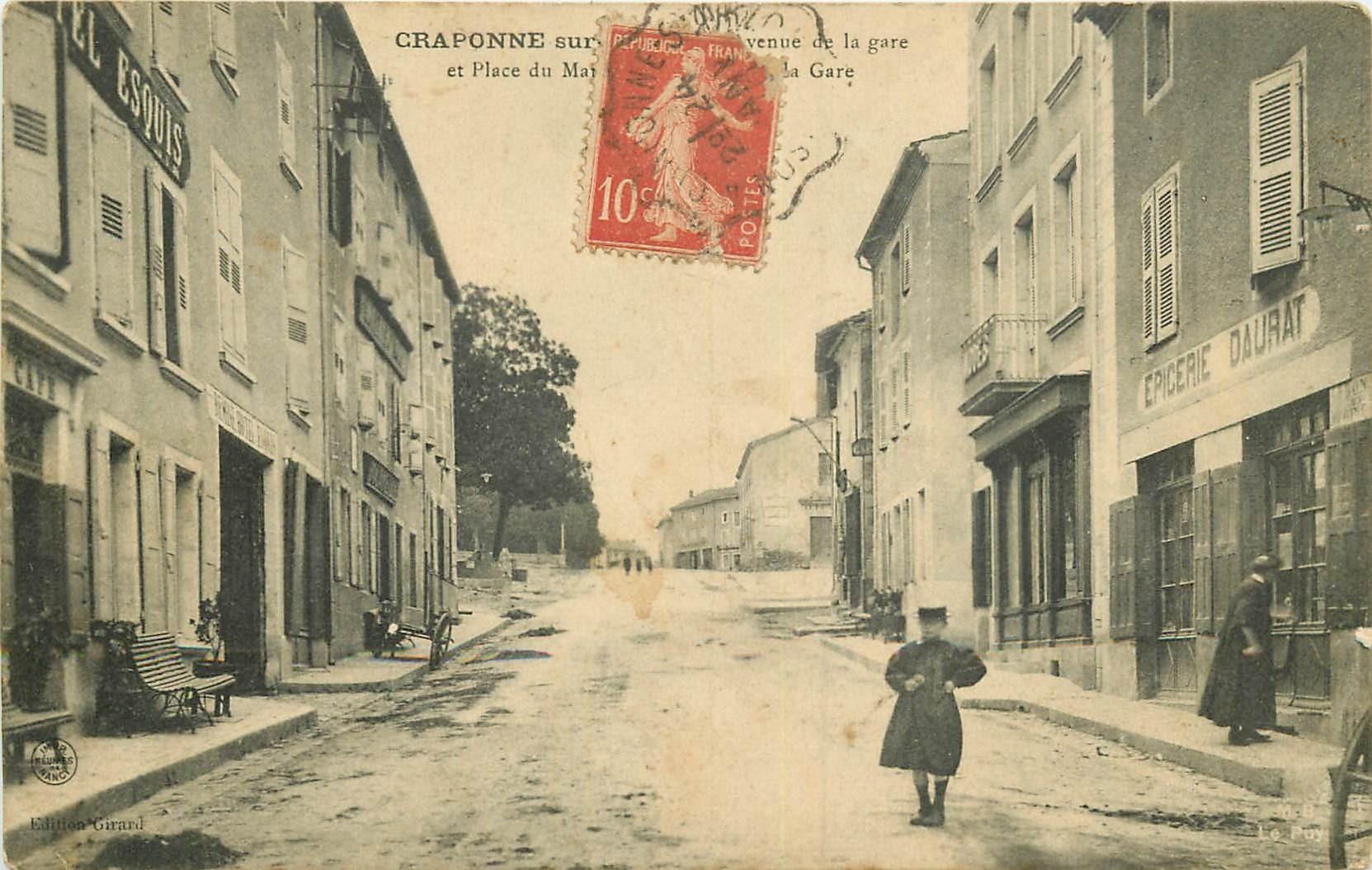 WW 43 CRAPONNE-SUR-ARZON. Hôtel Esquis et Epicerie Avenue de la Gare 1910