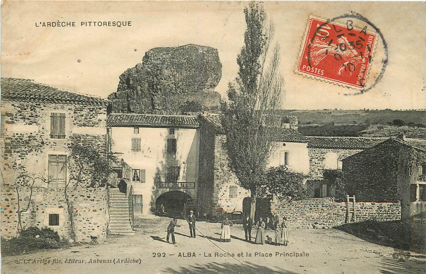 WW 07 ALBA. Partie de Pétanque sur la Place et la Roche 1910