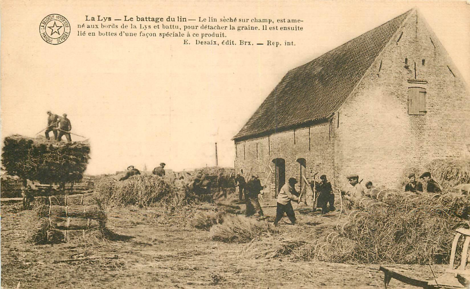WW BELGIQUE. Le Battage du lin à La Lys. Carte d'Honneur à Jumet 1929