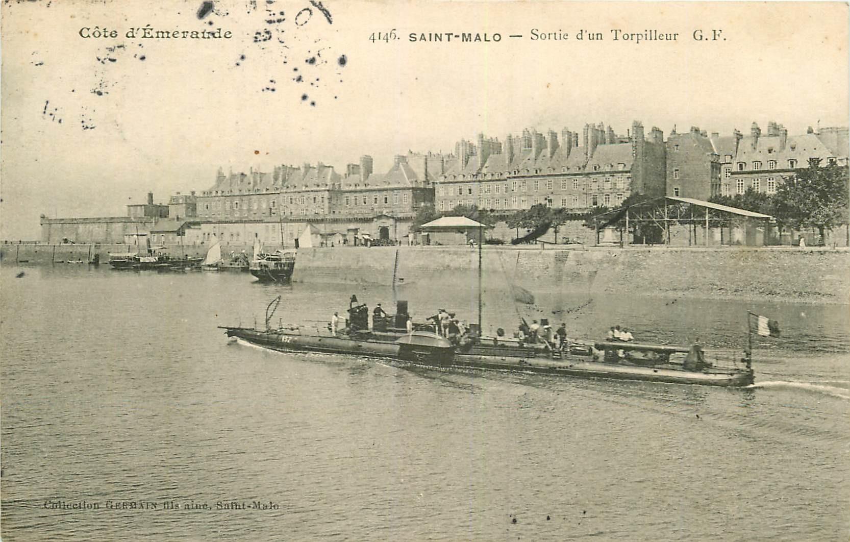 WW 35 SAINT-MALO. Sortie d'un Torpilleur 1908