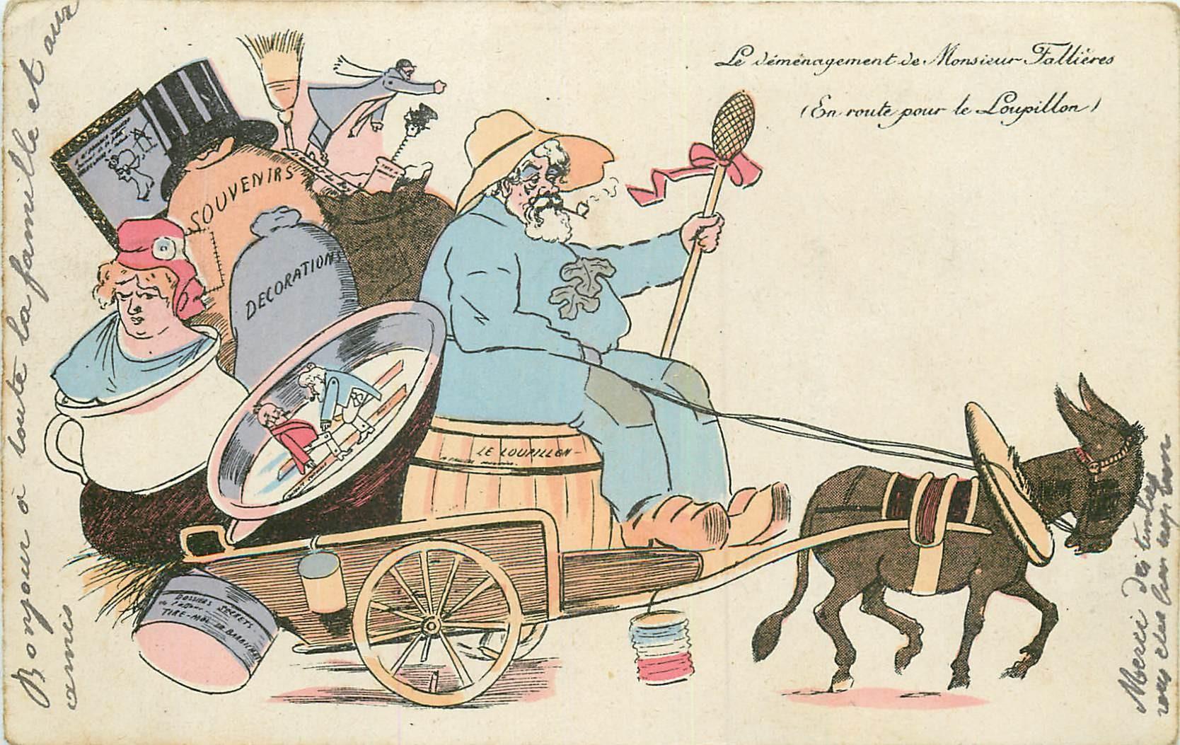 WW SAGER Illustrateur. Le Déménagement de Monsieur Fallières pour le Loupillon