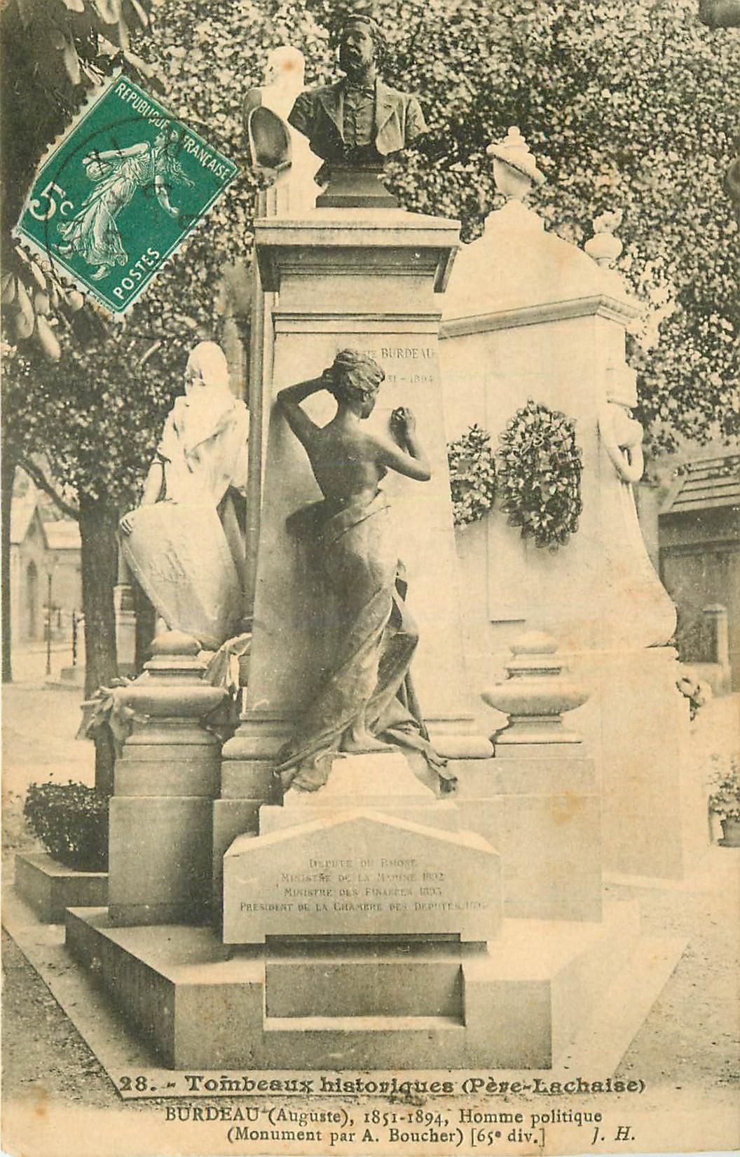 WW PARIS XX. Tombeau de Burdeau au Cimetière du Père Lachaise 1910