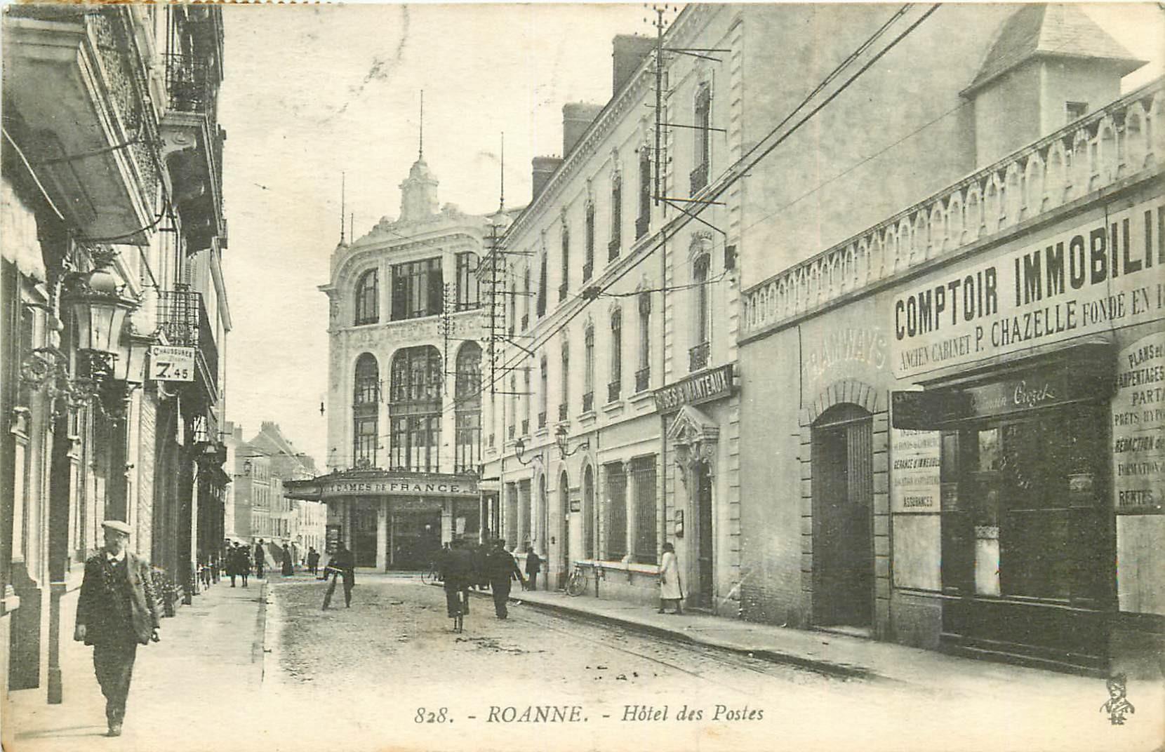 WW 42 ROANNE. Hôtel des Postes et au Comptoir Immobilier 1917