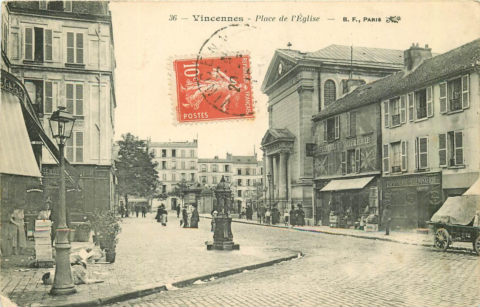 WW 94 VINCENNES. Vitrerie et Tapisserie Place de l'Eglise 1912