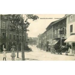WW 69 SOUCIEU-EN-JARRET. Attelage devant Hôtel du Commerce sur Grande Rue 1915