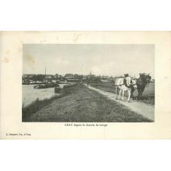WW 70 GRAY. Péniche et Chevaux sur le Chemin de halage