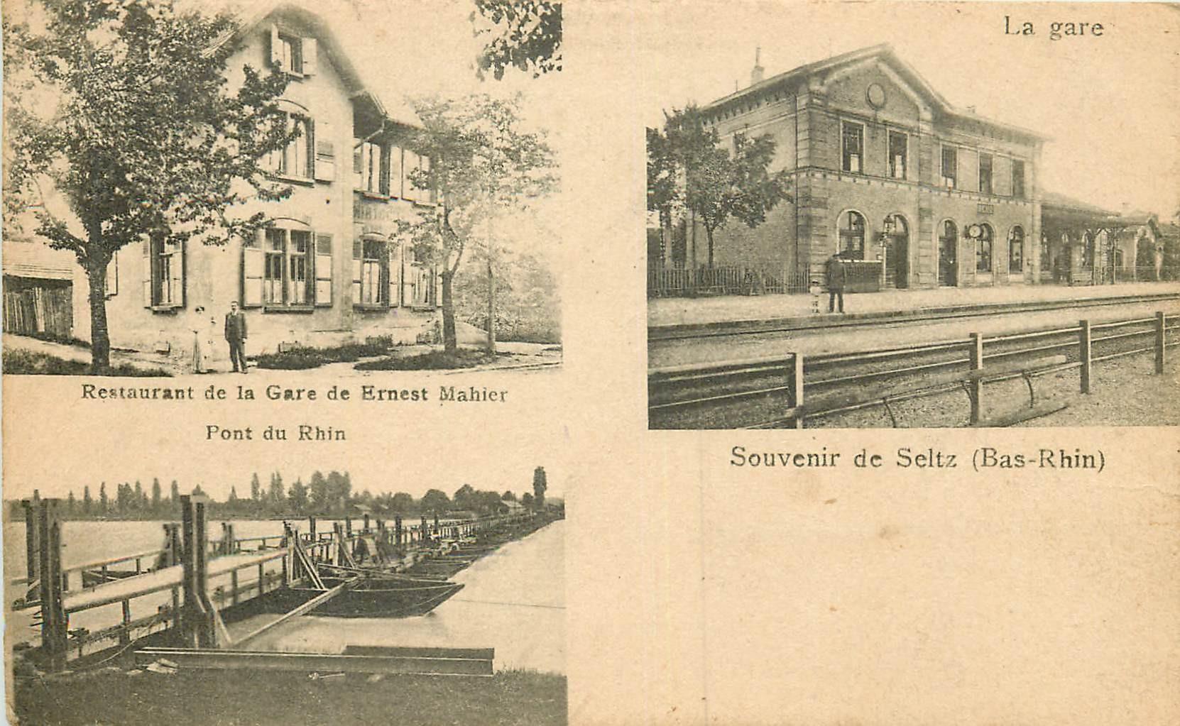 WW 67 SELTZ. La Gare, Restaurant Ernest Mahier avec Pont de barques sur le Rhin 1927