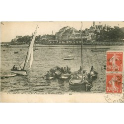 WW 33 ARCACHON. Pêcheurs dans la Nouvelle Jetée et le Casino 1923