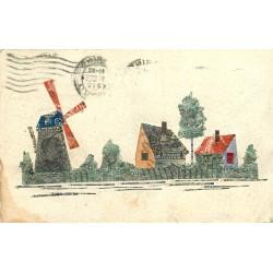 WW Moulin carte composée de timbres découpés et collés sur papier style Parchemin 1914
