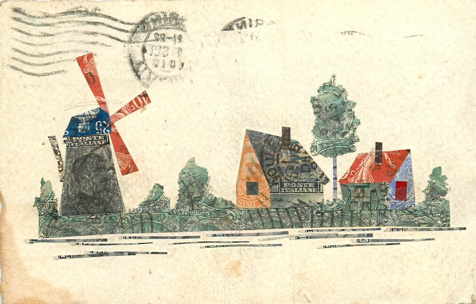 WW Moulin carte composée de timbres découpéset collés sur papier style Parchemin 1914