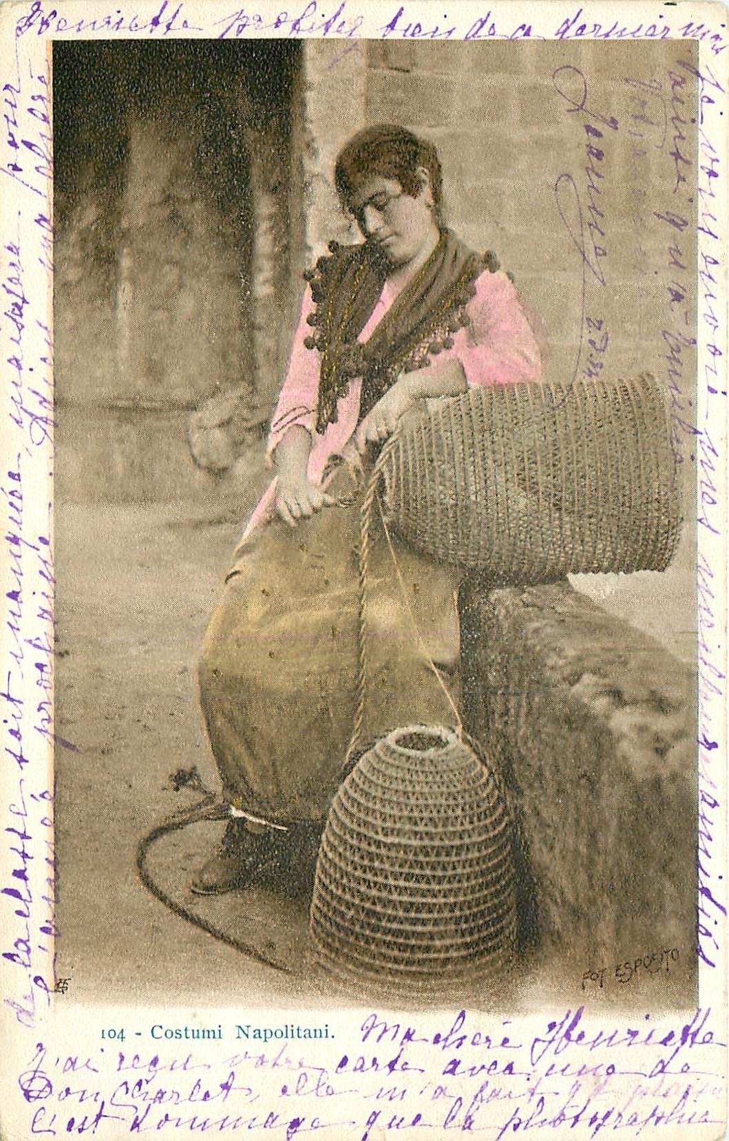 WW NAPOLI. Pêcheuse de Homards en Costumi Napolitani en Italie 1902
