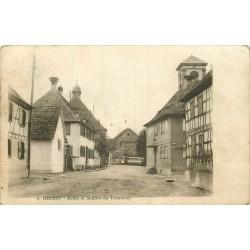 WW 67 RHINAU. Ecole et Station de Tramway devant l'Hôtel