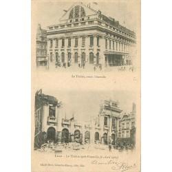 WW 59 LILLE. Pompiers au Théâtre avant et après l'Incendie 1903