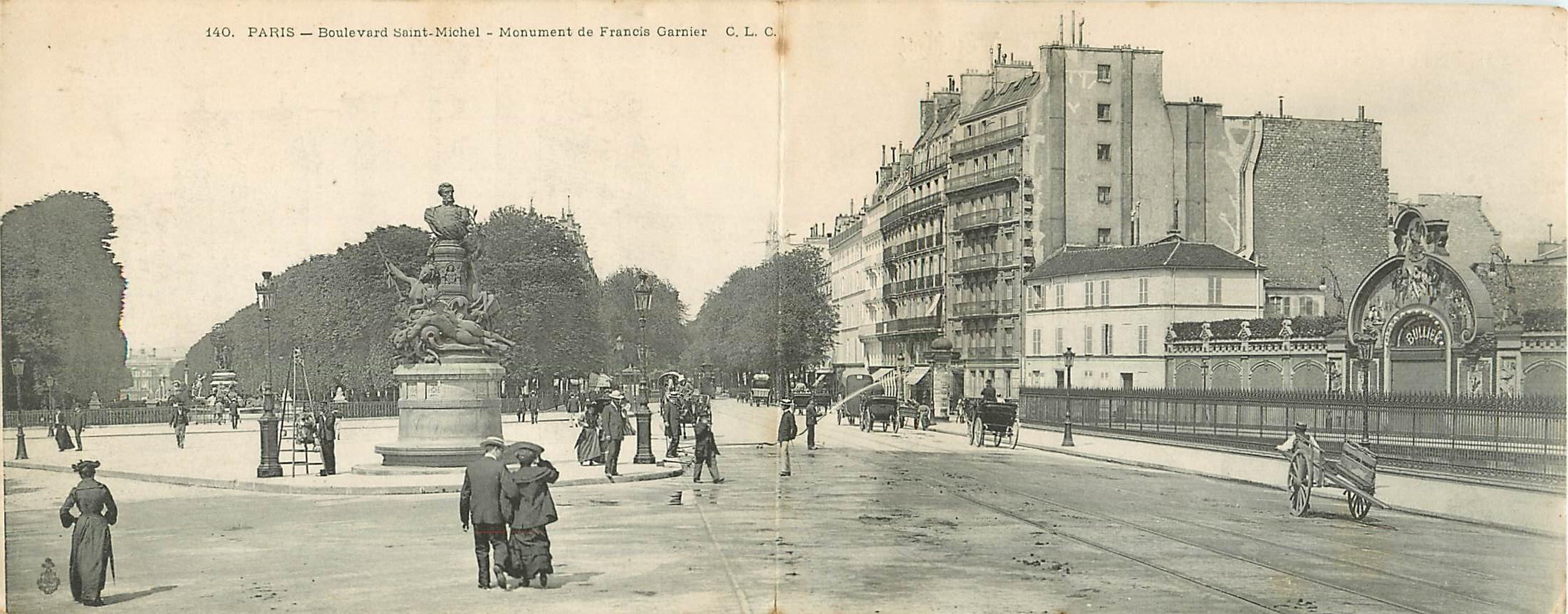WW PARIS V. Le Bal Bullier et monument Garnier Boulevard Saint-Michel 1917