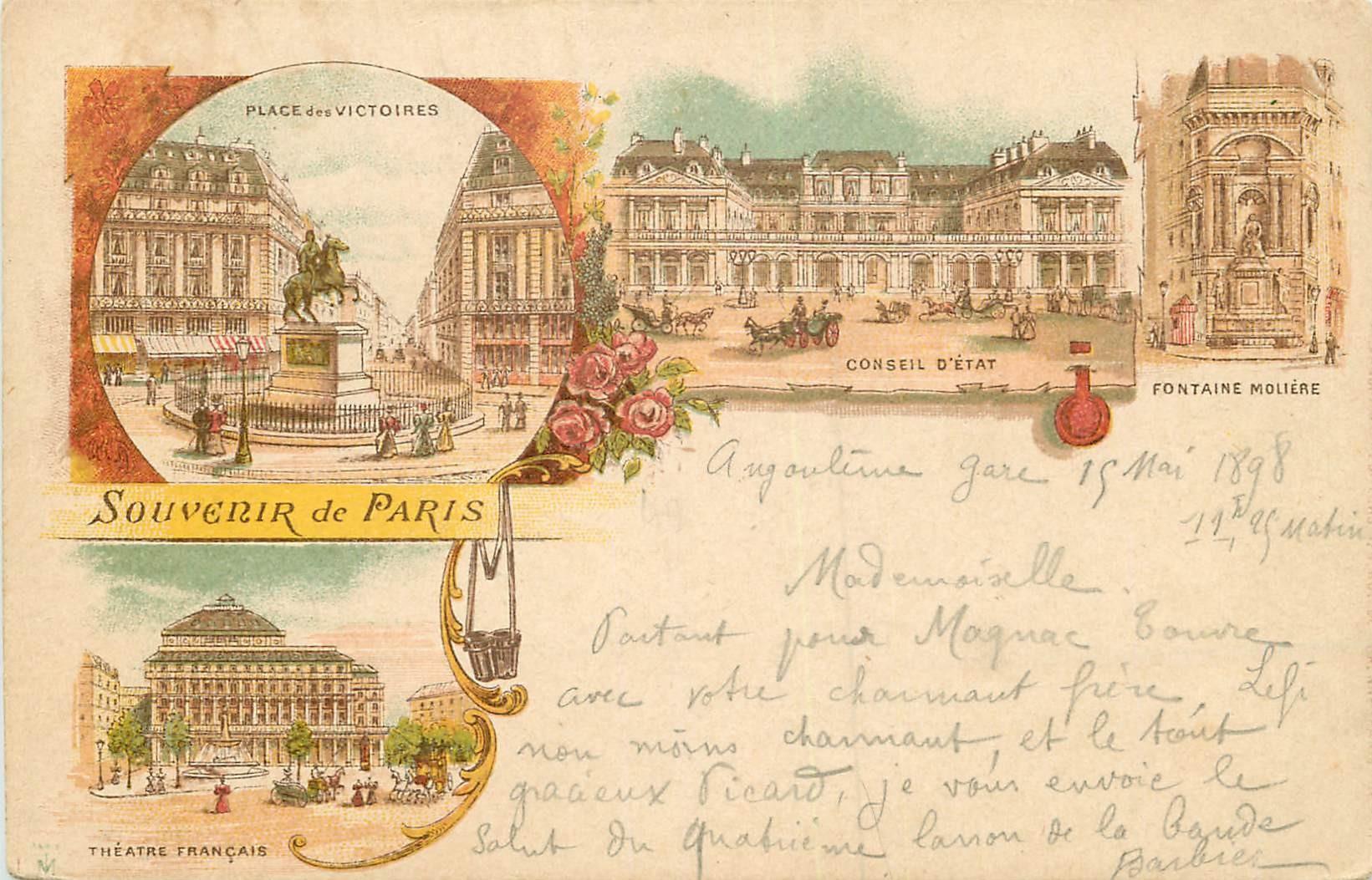 WW PARIS en 1898. Place des Victoires, Conseil d'Etat, Fontaine Molière et Théâtre Français
