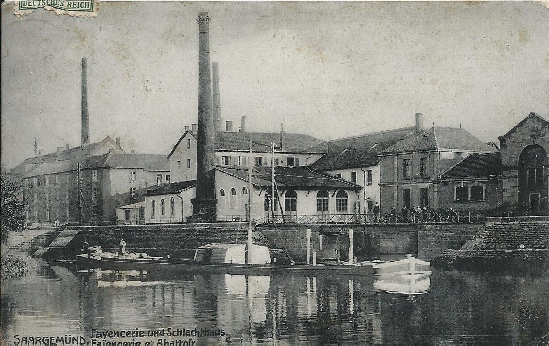WW 57 SARREGUEMINES SAARGEMUND. Faïencerie et Abattoir 1909
