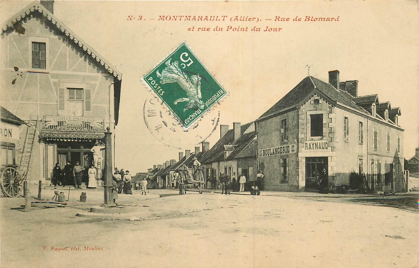 WW 03 MONTMARAULT. Rue de Blomard et du Point du Jour 1908