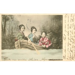 WW CHINE CHINA. Trois Geisha life on the Ocean wave 1906