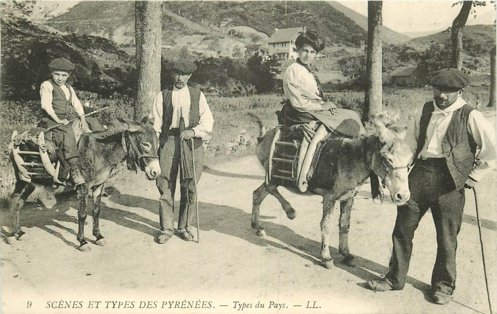 WW 64 LES PYRENEES. Types du Pays Aniers pour ballades 1910