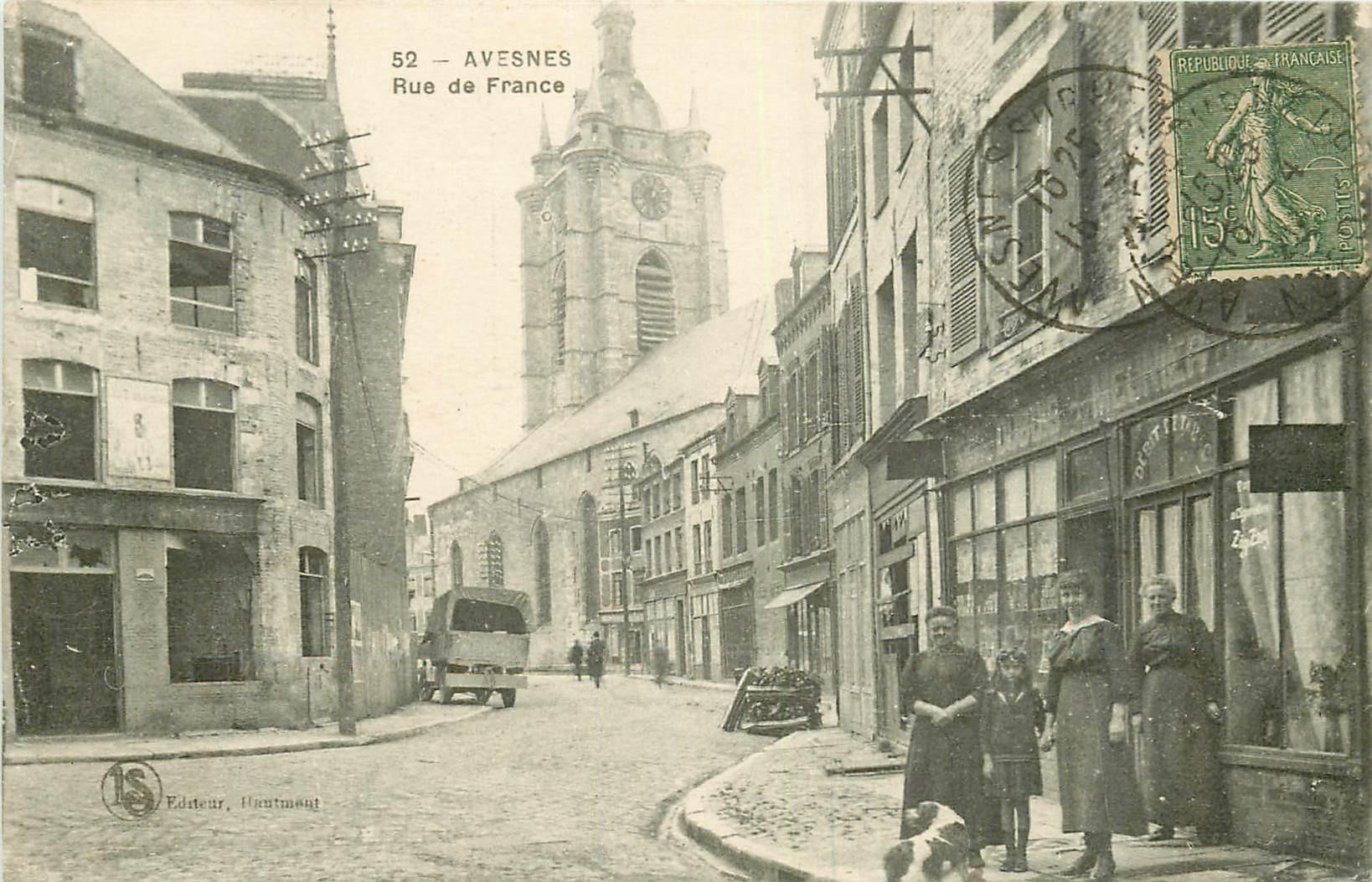 WW 59 AVESNES-SUR-HELPE. Café Tabac rue de France 1920