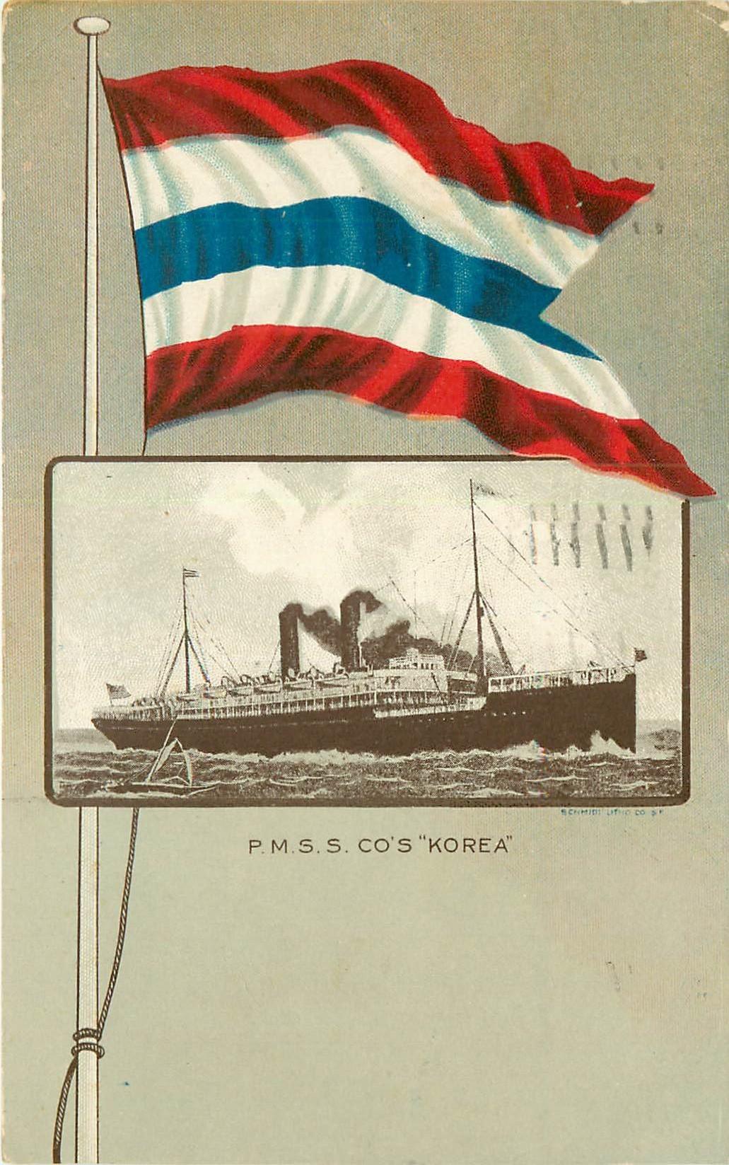 """WW U.S.A Paquebot """" KOREA """" 1910"""