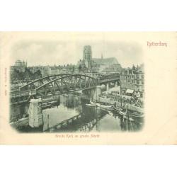 WW ROTTERDAM. Grocte Kerk & Markt vers 1900