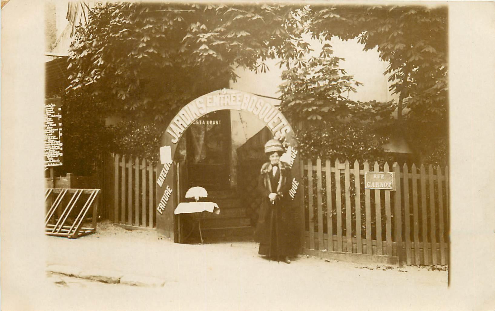 60 COMPIEGNE. Entrée des Jardins Bosquets Photo carte postale ancienne