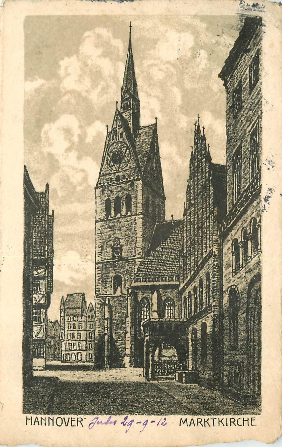 WW HANNOVER. Marktkirche 1912 en Allemagne
