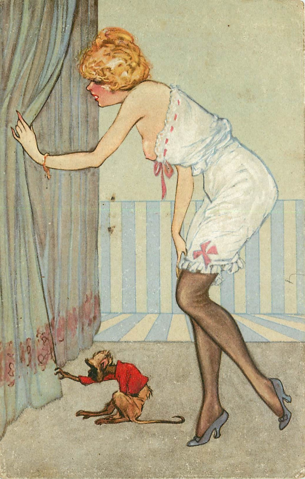 WW Erotisme. Femme au sein nu et son Singe. Véritable dessin au verso...