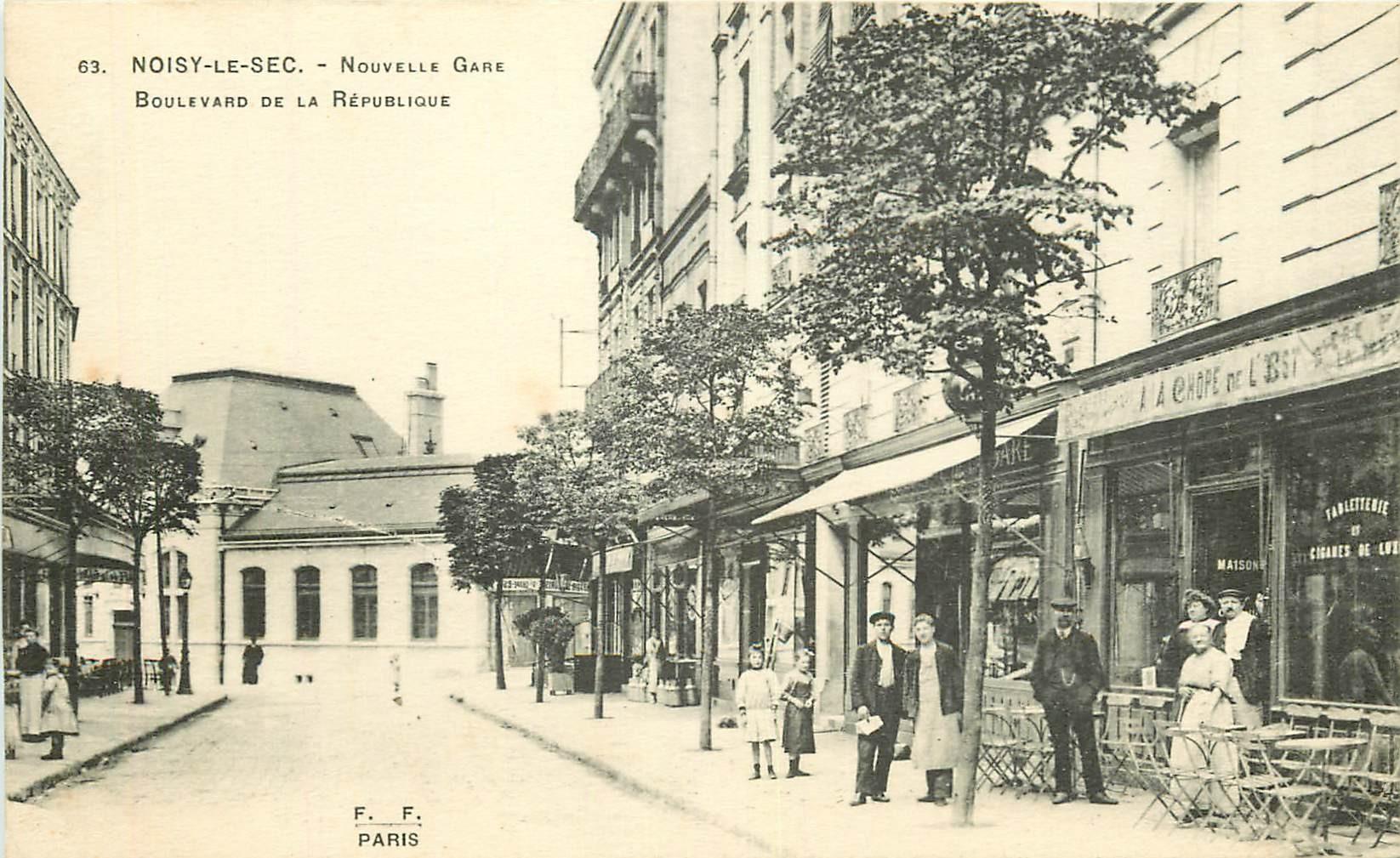 WW 93 NOISY-LE-SEC. Gare et Café boulevard République