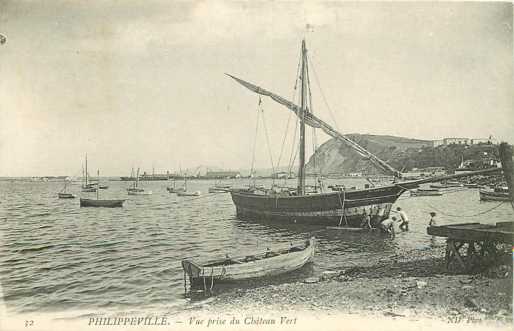 WW PHILIPPEVILLE. Bateau de Pêcheurs vu du Château Vert en Algérie