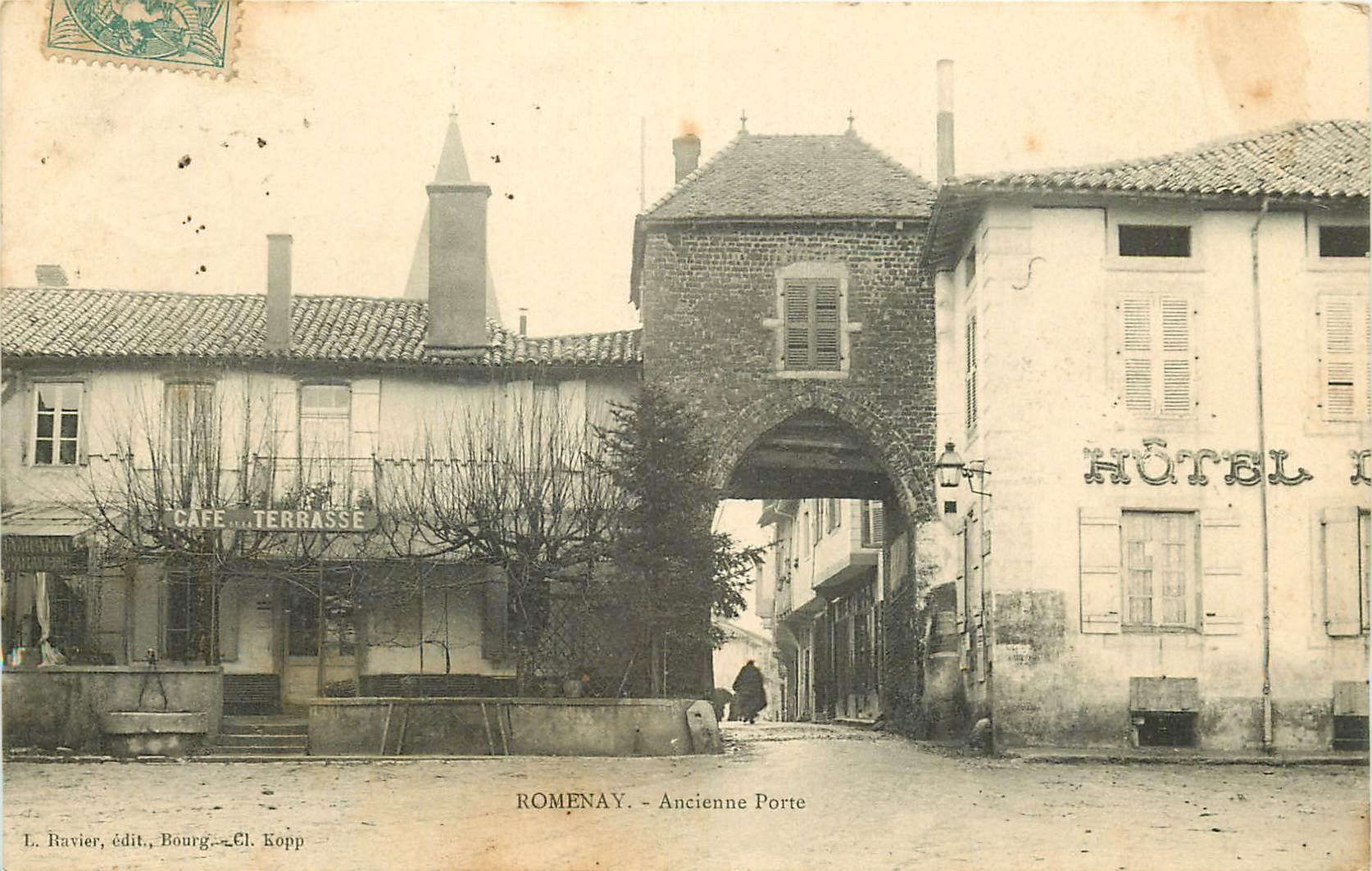 WW 71 ROMENAY. Café et Hôtel à l'Ancienne Porte 1905