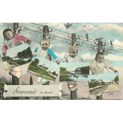 WW 95 MERIEL. Souvenir avec Bébés suspendus sur poteaux télégraphiques