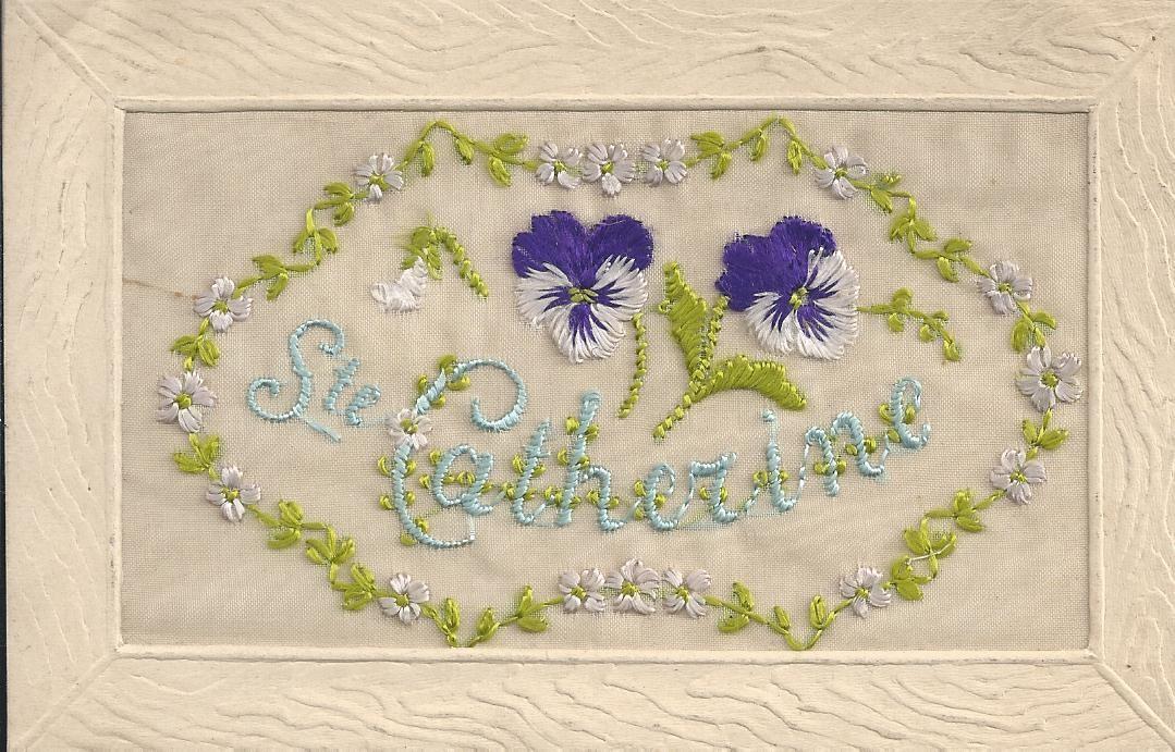 WW SAINTE-CATHERINE. Carte brodée fils de soie sur voile