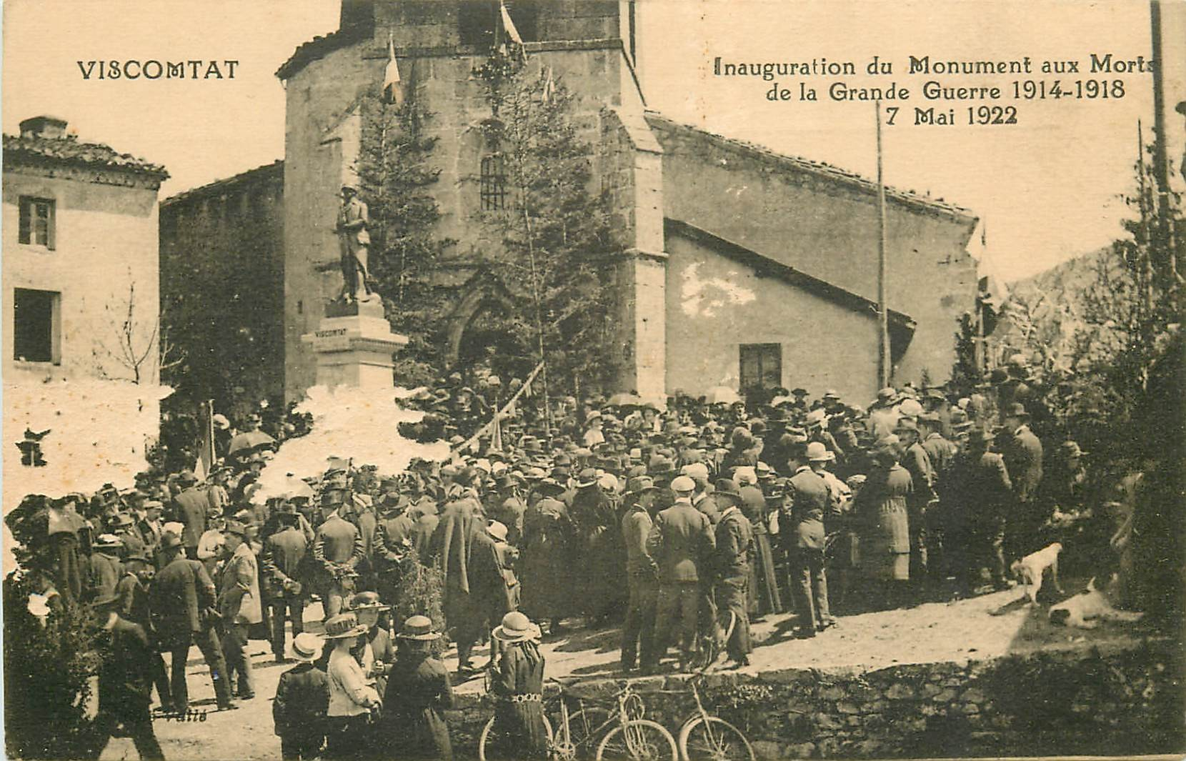 WW 63 VISCOMTAT. 1922 Inauguration Monuments aux Morts Guerre 14-18