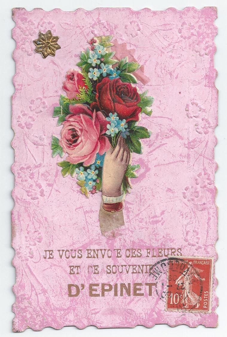 WW 63 EPINET. Carte fantaisie avec Fleurs en ajoutis 1909