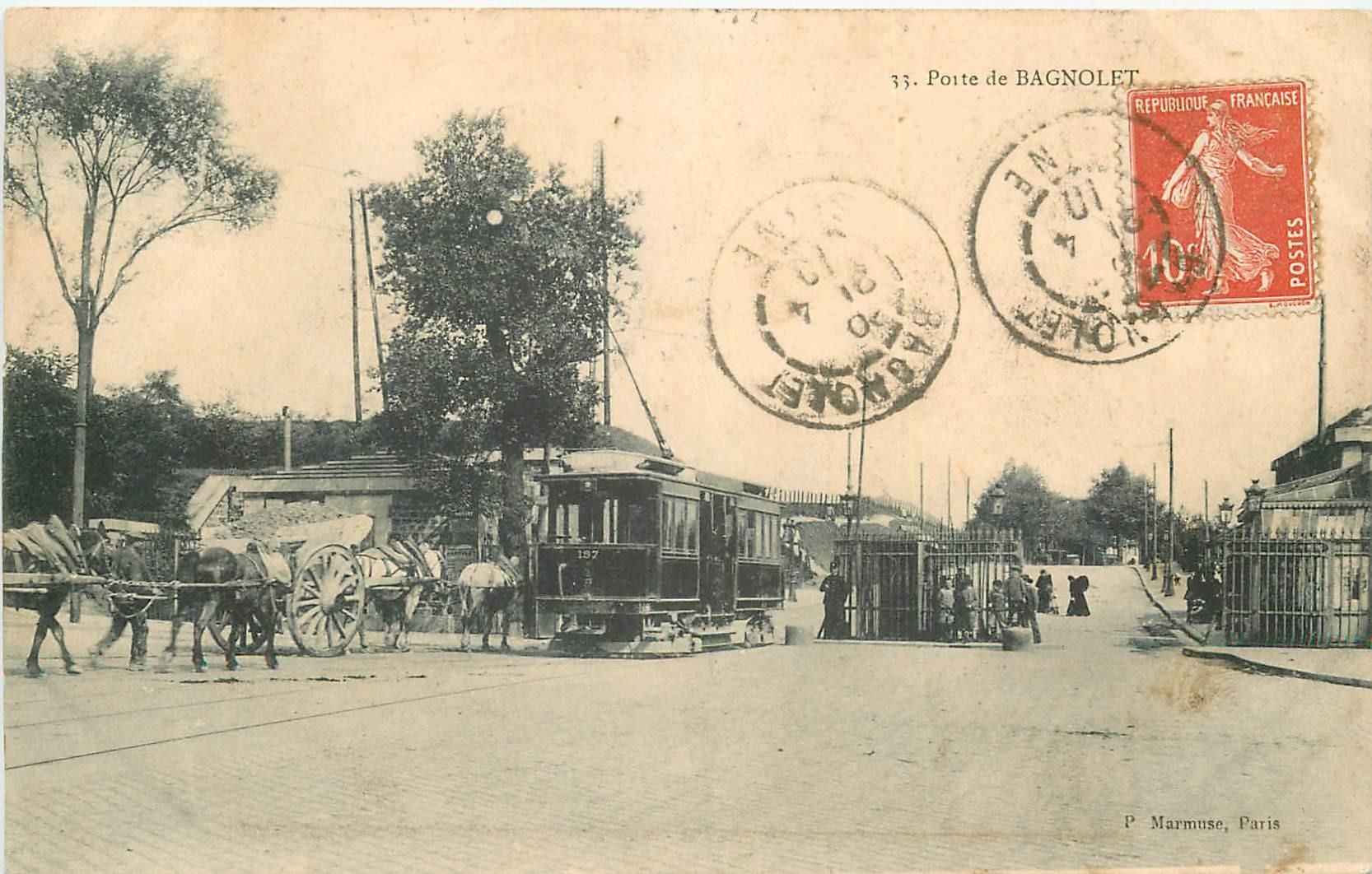 93 BAGNOLET. Tramway et Octroi à la Porte de Bagnolet 1910