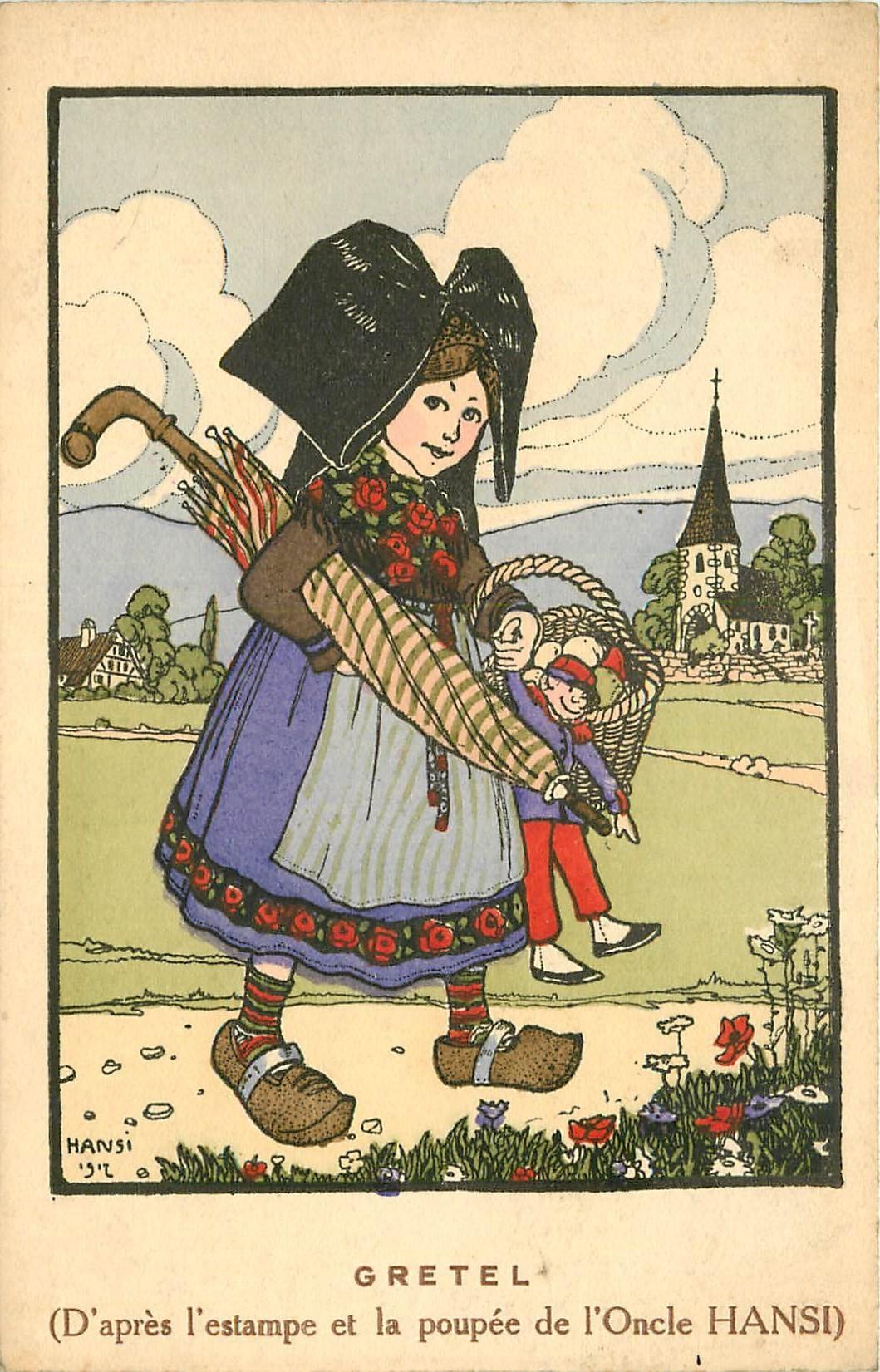 HANSI. Illustrateur et la Poupée de Gretel série n°30 en 1918