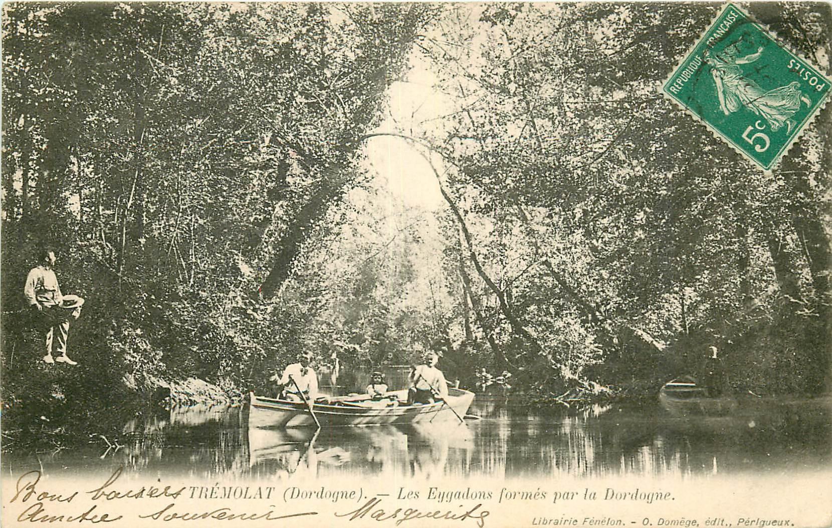 24 TREMOLAT. Les Eygadons formés par la Dordogne avec Rameurs et Pêcheur