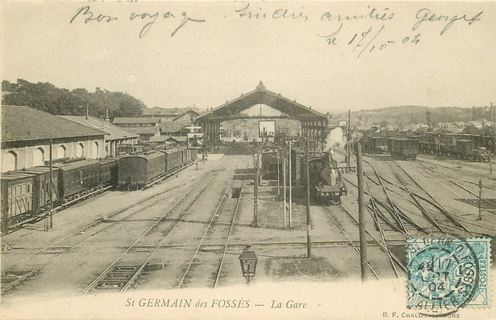 03 SAINT-GERMAIN DES FOSSES. Trains en Gare 1904