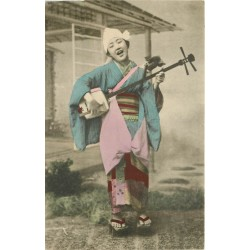 JAPON JAPAN. Geisha musicienne