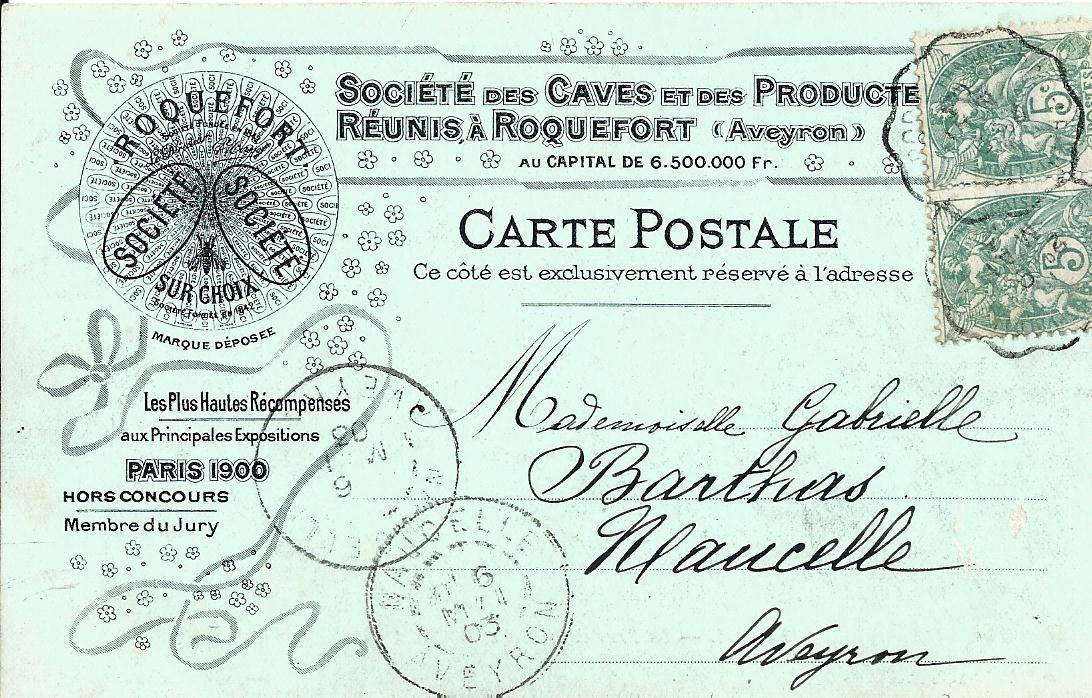 12 RODEZ. Place de la Cité. Carte publicitaire Roquefort 1903